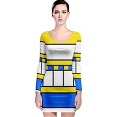 Stripes and squares Long Sleeve Bodycon Dress