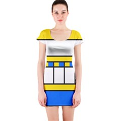 Stripes and squares Short sleeve Bodycon dress
