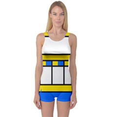 Stripes and squares Women s Boyleg One Piece Swimsuit