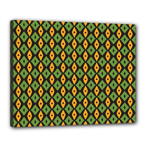 Green Yellow Rhombus Pattern Canvas 20  X 16  (stretched)