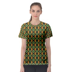 Green yellow rhombus pattern Women s Sport Mesh Tee