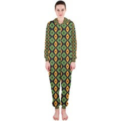Green yellow rhombus pattern Hooded OnePiece Jumpsuit
