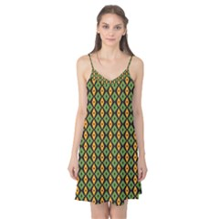Green Yellow Rhombus Pattern Camis Nightgown