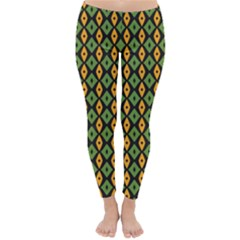 Green yellow rhombus pattern Winter Leggings