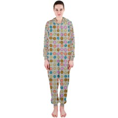 Retro Dots Pattern Hooded Onepiece Jumpsuit