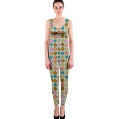 Retro dots pattern OnePiece Catsuit