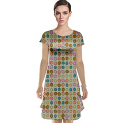 Retro Dots Pattern Cap Sleeve Nightdress