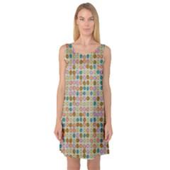 Retro dots pattern Sleeveless Satin Nightdress