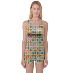 Retro dots pattern Women s Boyleg One Piece Swimsuit