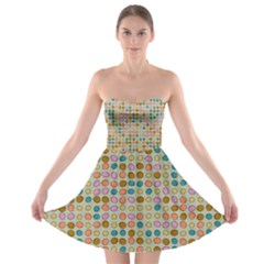 Retro dots pattern 	Strapless Bra Top Dress