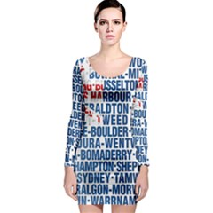 Australia Place Names Flag Long Sleeve Bodycon Dresses