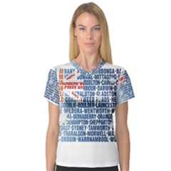 Australia Place Names Flag Women s V-Neck Sport Mesh Tee