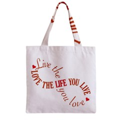 Live The Life You Love Zipper Grocery Tote Bags