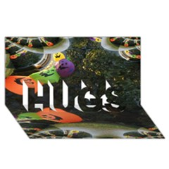 Floating Pumpkins HUGS 3D Greeting Card (8x4)