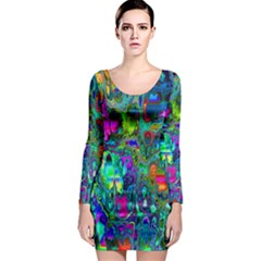 Inked Spot Fractal Art Long Sleeve Bodycon Dress