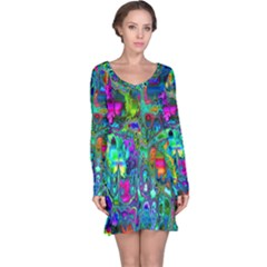 Inked Spot Fractal Art Long Sleeve Nightdress