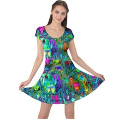 Inked Spot Fractal Art Cap Sleeve Dress