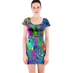 Inked Spot Fractal Art Short Sleeve Bodycon Dress