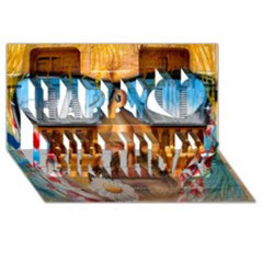 Graffiti Sunglass Art Happy Birthday 3D Greeting Card (8x4)