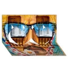 Graffiti Sunglass Art Twin Hearts 3d Greeting Card (8x4)
