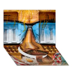 Graffiti Sunglass Art Circle Bottom 3D Greeting Card (7x5)