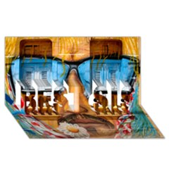 Graffiti Sunglass Art BEST SIS 3D Greeting Card (8x4)
