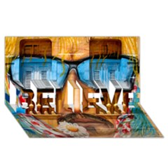 Graffiti Sunglass Art BELIEVE 3D Greeting Card (8x4)