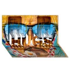 Graffiti Sunglass Art HUGS 3D Greeting Card (8x4)