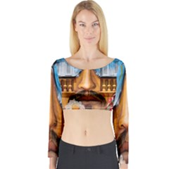 Graffiti Sunglass Art Long Sleeve Crop Top