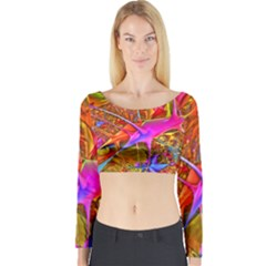 Biology 101 Abstract Long Sleeve Crop Top
