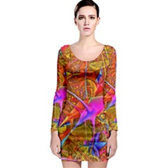 Biology 101 Abstract Long Sleeve Bodycon Dresses