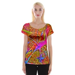 Biology 101 Abstract Women s Cap Sleeve Top