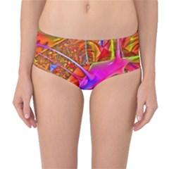 Biology 101 Abstract Mid Waist Bikini Bottoms