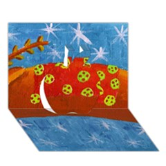 Rudolph The Reindeer Apple 3D Greeting Card (7x5)