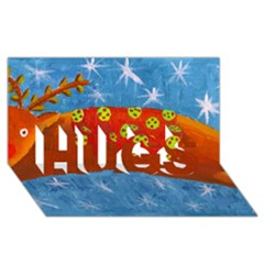 Rudolph The Reindeer Hugs 3d Greeting Card (8x4)