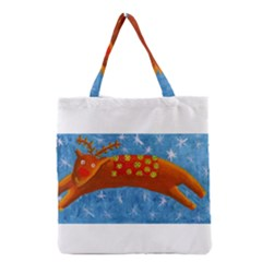 Rudolph The Reindeer Grocery Tote Bags
