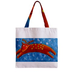Rudolph The Reindeer Zipper Grocery Tote Bags