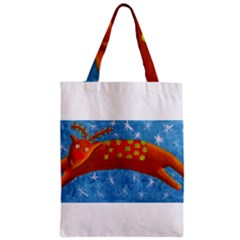 Rudolph The Reindeer Zipper Classic Tote Bags