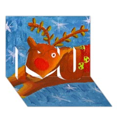 Rudolph The Reindeer I Love You 3D Greeting Card (7x5)