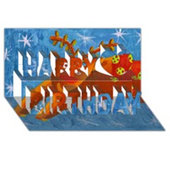 Rudolph The Reindeer Happy Birthday 3d Greeting Card (8x4)