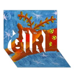 Rudolph The Reindeer Girl 3d Greeting Card (7x5)