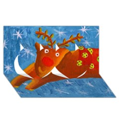 Rudolph The Reindeer Twin Hearts 3D Greeting Card (8x4)