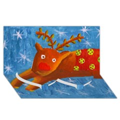 Rudolph The Reindeer Twin Heart Bottom 3D Greeting Card (8x4)