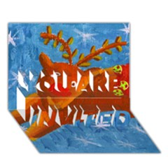 Rudolph The Reindeer YOU ARE INVITED 3D Greeting Card (7x5)
