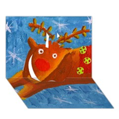 Rudolph The Reindeer Apple 3d Greeting Card (7x5)