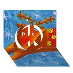 Rudolph The Reindeer Peace Sign 3d Greeting Card (7x5)