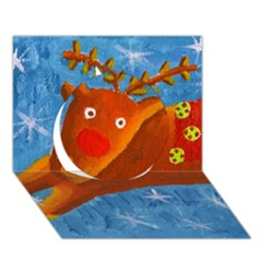 Rudolph The Reindeer Circle 3D Greeting Card (7x5)
