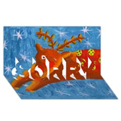 Rudolph The Reindeer Sorry 3d Greeting Card (8x4)