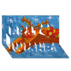 Rudolph The Reindeer Best Wish 3d Greeting Card (8x4)