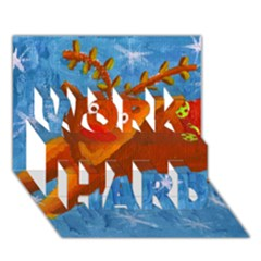 Rudolph The Reindeer Work Hard 3d Greeting Card (7x5)